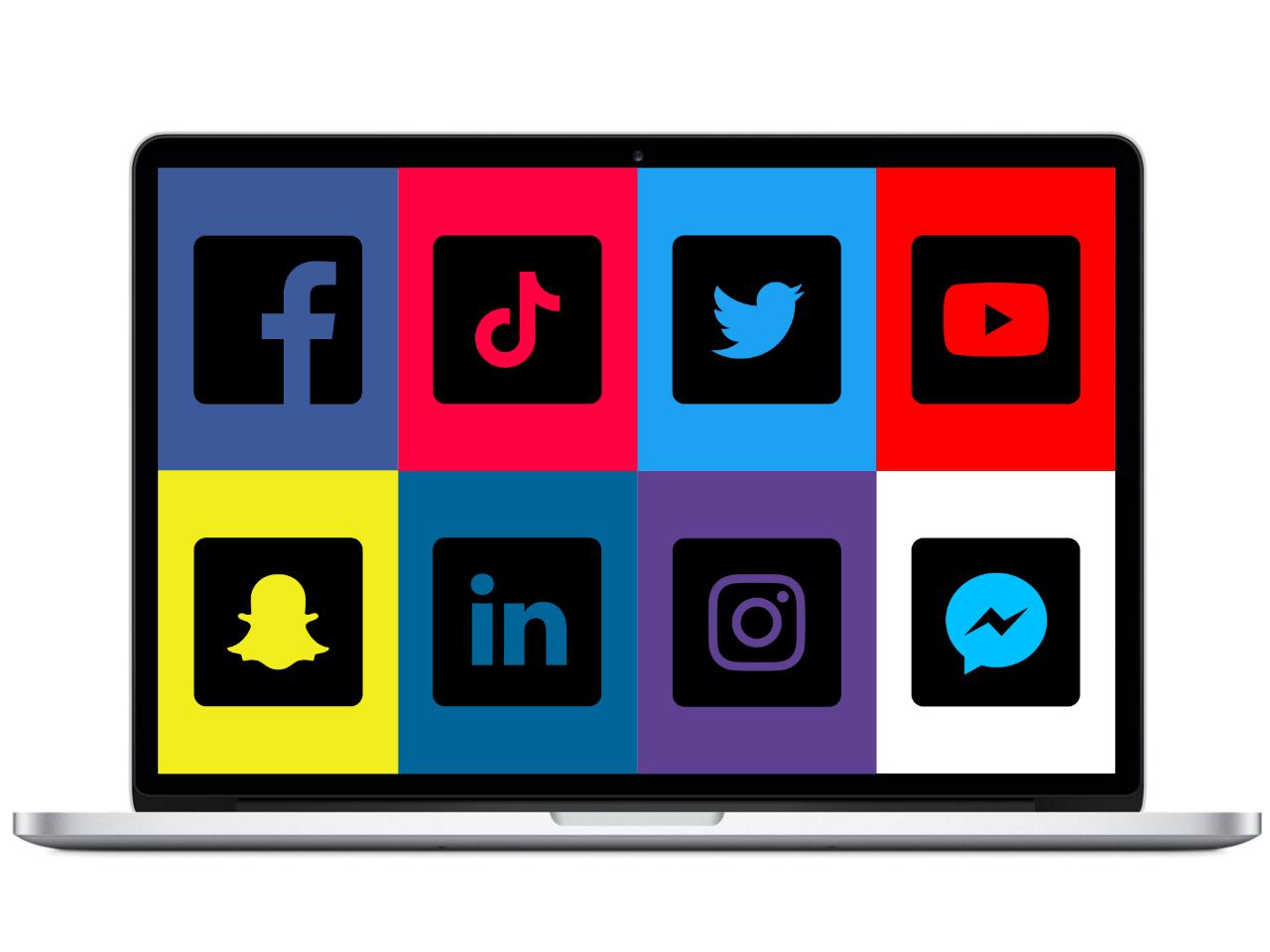 social media kanalen laptop - IN ZICHT Marketing