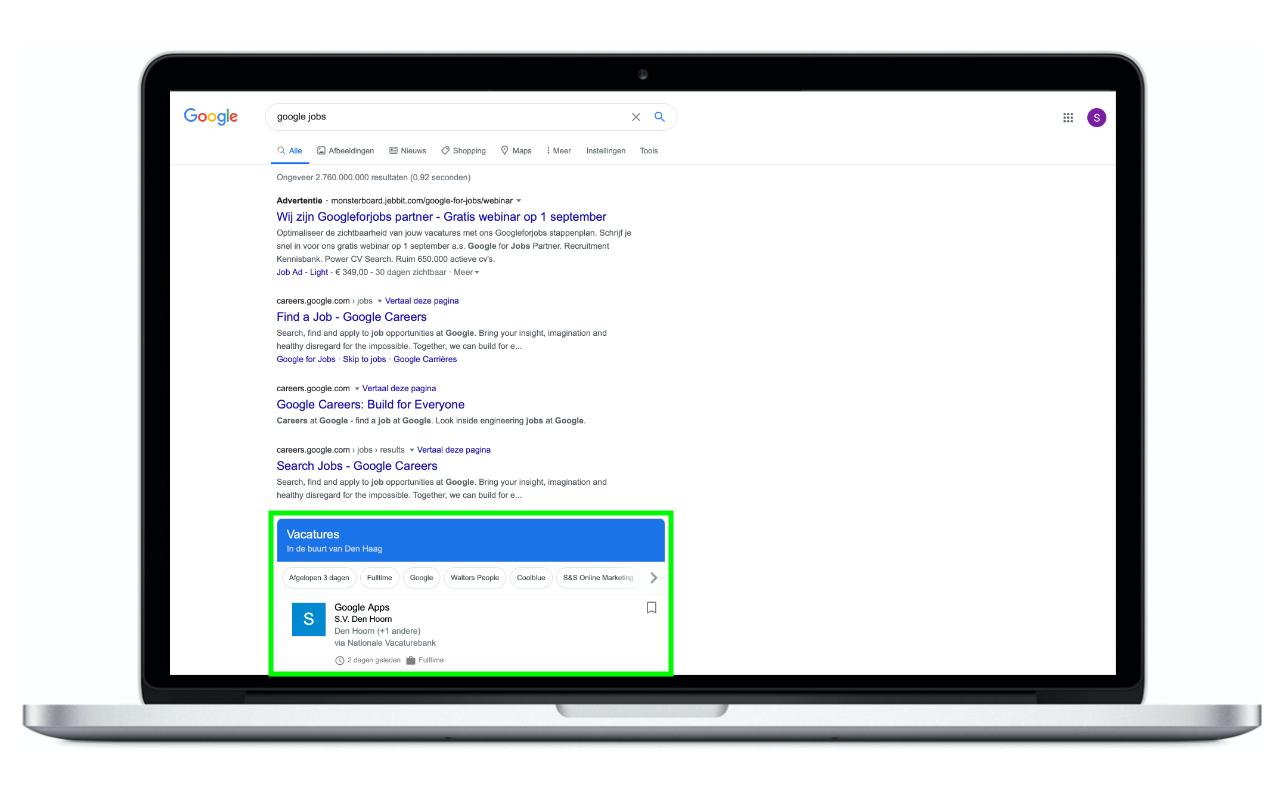 Google Jobs - IN ZICHT Marketing - zoekresultaten