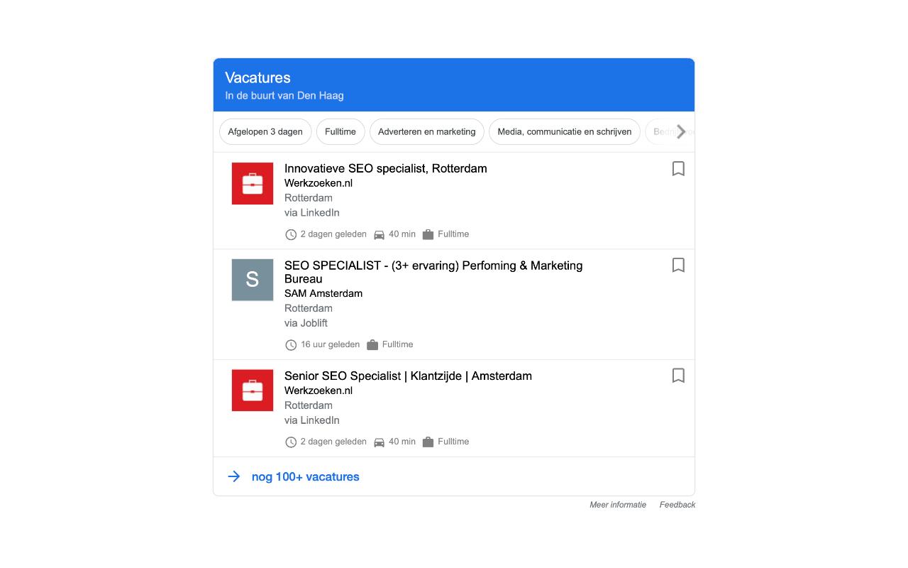 Hoog scoren in Google Jobs - IN ZICHT Marketing