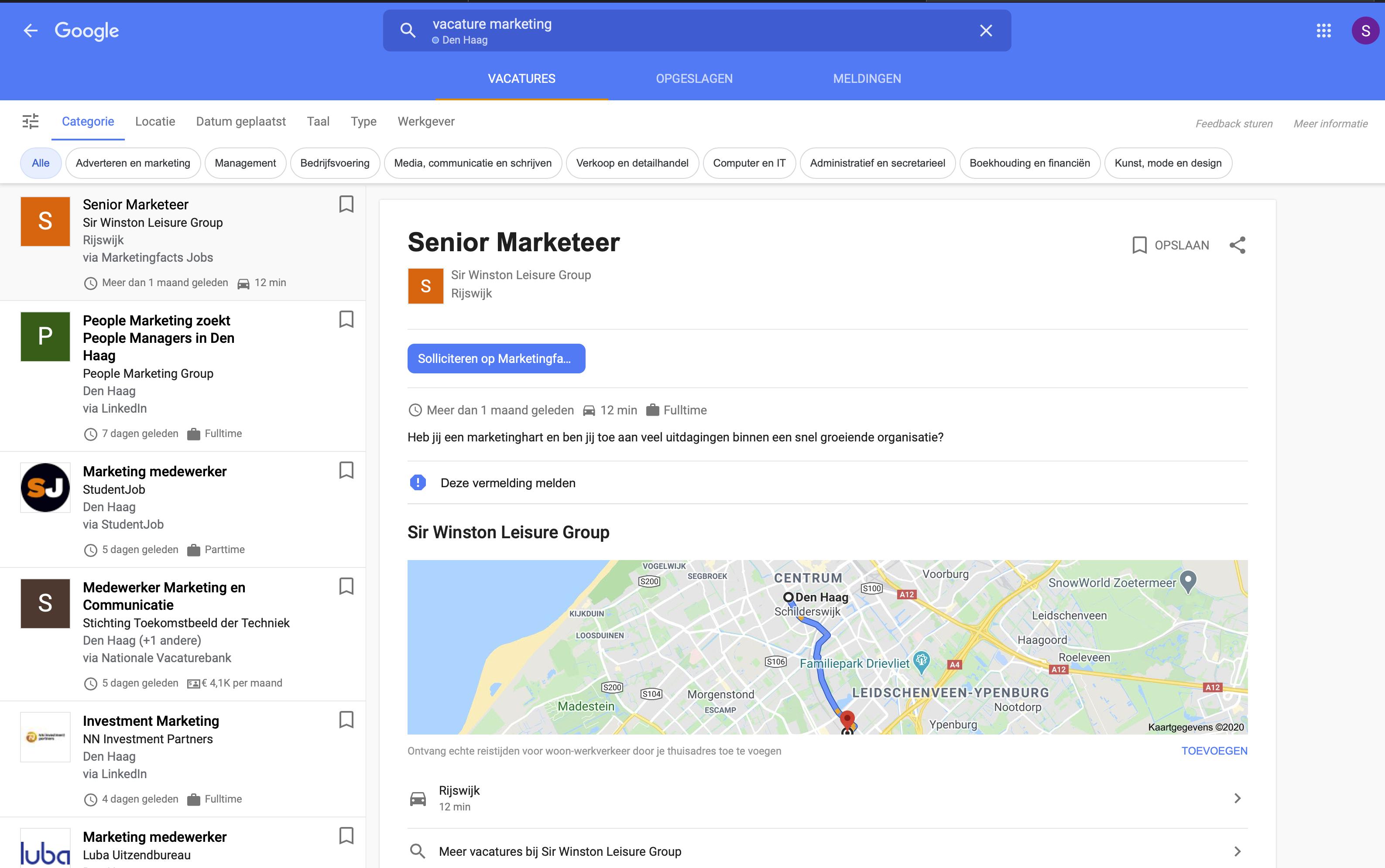 Zo ziet Google Jobs eruit - IN ZICHT Marketing