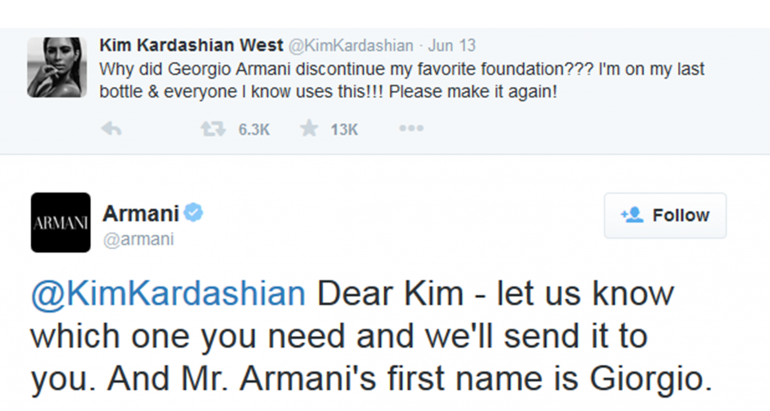 Tweet Armani Kim Kardashian - IN ZICHT Marketing - blog consistentie